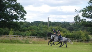 Caluna & Ella having a canter with Ellie and Kelly :-)